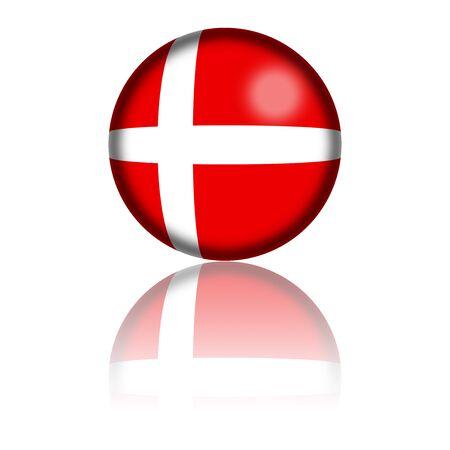denmark flag: Denmark Flag Sphere 3D Rendering