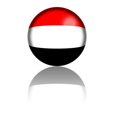 yemen: Yemen Flag Sphere 3D Rendering