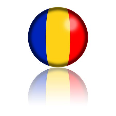 chad flag: Chad Flag Sphere 3D Rendering Stock Photo