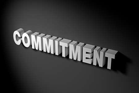 commitments: Commitment Concept in 3D Rendering Text