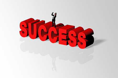 accomplishments: Success word and person conveying business concept of success, 3D rendering