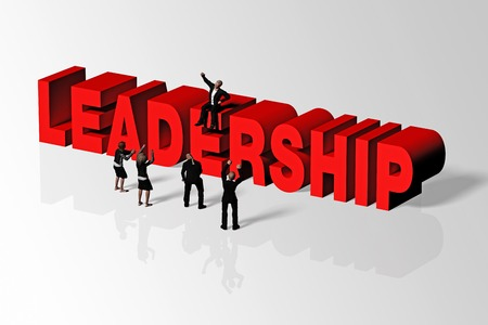 Leadership word and group of people conveying business concept of leadership, 3D rendering