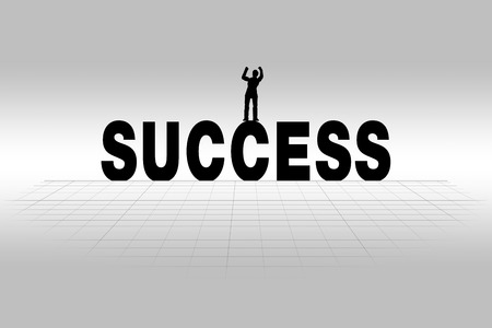 success concept: Success word communicating business concept of success in silhouette
