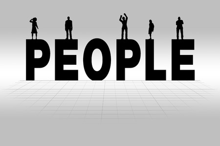 communicating: People word communicating business concept of people in silhouette