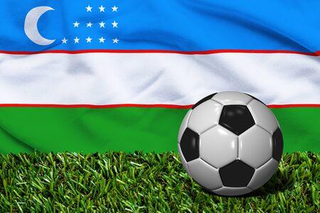 Soccer Ball on Grass with Uzbekistan Flag Background, 3D Rendering