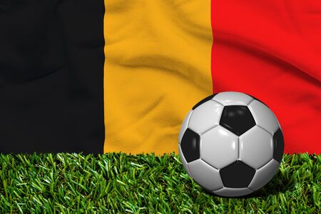 Soccer Ball on Grass with Belgium Flag Background, 3D Rendering
