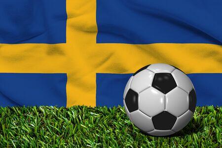 bandera de suecia: Balón de fútbol con la bandera de Suecia fondo, 3D Rendering