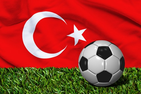 Soccer Ball on Grass with Turkey Flag Background, 3D Rendering