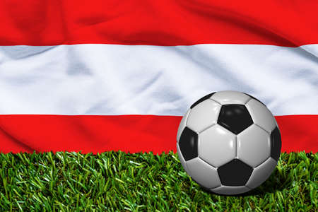 austria flag: Soccer Ball on Grass with Austria Flag Background, 3D Rendering