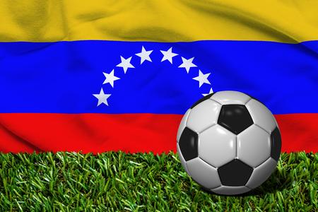 bandera de venezuela: Balón de fútbol con la bandera de Venezuela del fondo, de la representación 3D