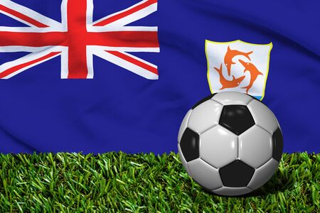 anguilla: Soccer Ball on Grass with Anguilla Flag Background, 3D Rendering