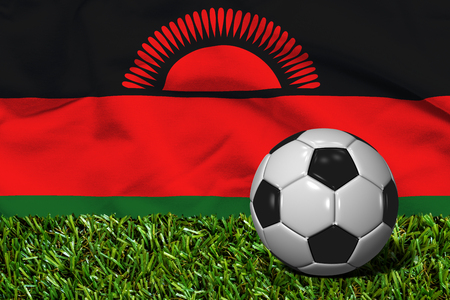 malawi flag: Soccer Ball on Grass with Malawi Flag Background, 3D Rendering