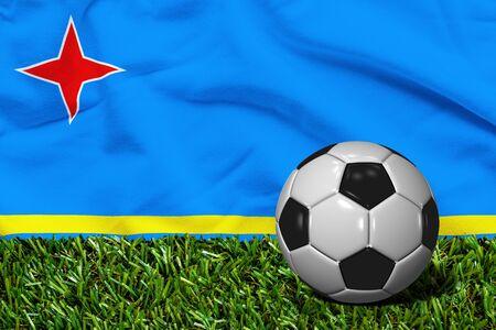 aruba flag: Soccer Ball on Grass with Aruba Flag Background, 3D Rendering