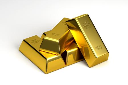 Gold Bullion Bar Geïsoleerd op een witte achtergrond, 3D-rendering Stockfoto