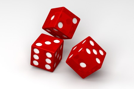 rolling dice: Rolling Dice Isolated on White, 3D Rendering Stock Photo