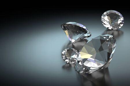 Diamond on Black Background, 3D Rendering Stock Photo