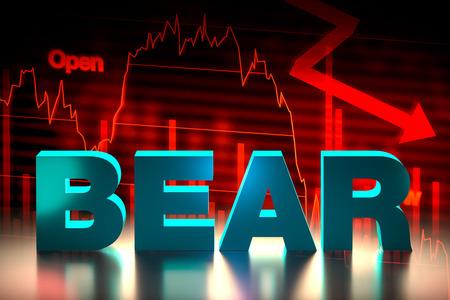 bearish: Bearish Stock Market Chart with Bear Word, 3D Rendering
