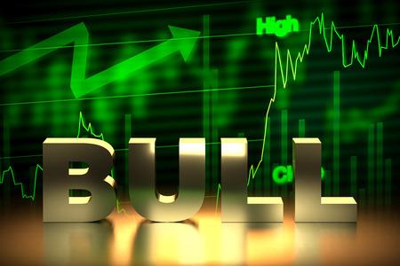 bullish market: Bullish Stock Market Chart with Bull Word, 3D Rendering Stock Photo