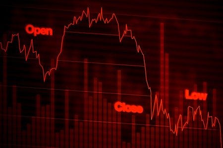 downward: Stock Market Chart Falling Downward in Red