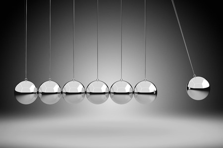 cradle: Physics Concept by Newton Cradle, 3D Rendering