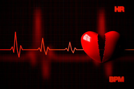 Heart Failure Concept Illustrated by Broken Heart, 3D Rendering