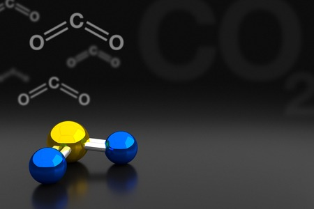 Carbon Dioxide or CO2 Molecule Background, 3D Rendering