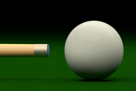 3d ball: Cue Aiming Cue Ball or White Ball, 3D Rendering Stock Photo