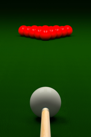 cue: Cue Aiming White Ball or Cue Ball on Snooker Table, 3D Rendering