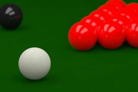 snooker tables: Snooker Balls on Snooker Table, 3D Rendering Stock Photo