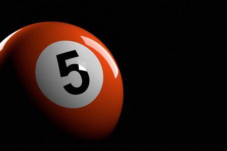 bola de billar: Bola de piscina número 5, de la representación 3D
