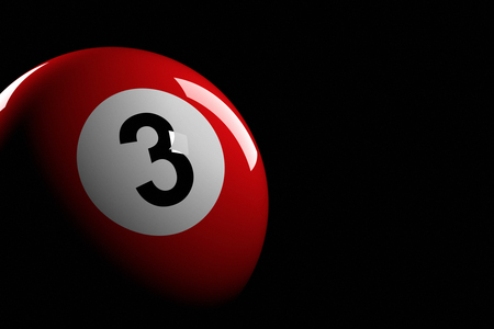 3d ball: Pool Ball Number 3, 3D Rendering Stock Photo
