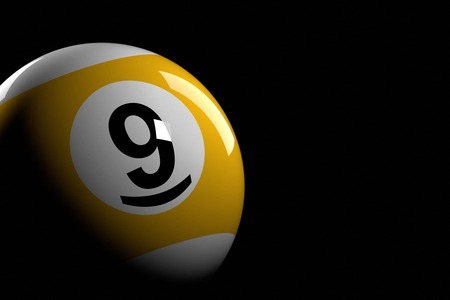 9 ball: Pool Ball Number 9, 3D Rendering Stock Photo