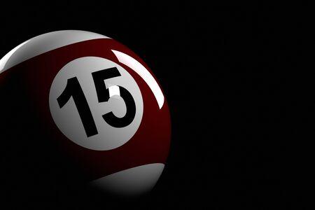 bola de billar: N�mero bola de piscina 15, la representaci�n 3D