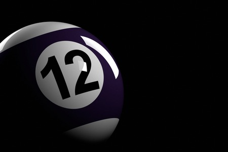 number 12: Pool Ball Number 12, 3D Rendering