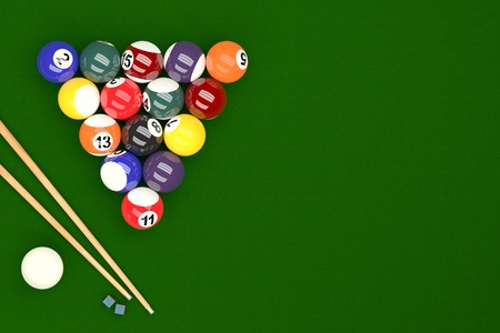 snooker tables: Pool Balls on Pool Table Background, 3D Rendering