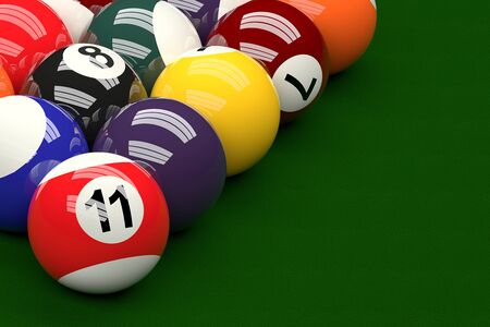 snooker: Pool Balls on Pool Table, 3D Rendering Stock Photo