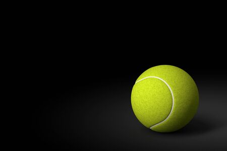 3d ball: Tennis Ball on Black Background, 3D Rendering