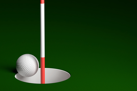 3d ball: Golf Ball Hole In One, 3D Rendering