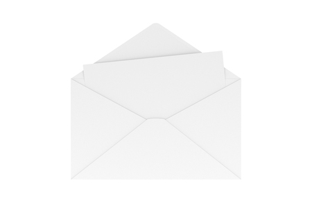 Blank Letter in Envelop Isolated on White, 3D Rendering 写真素材