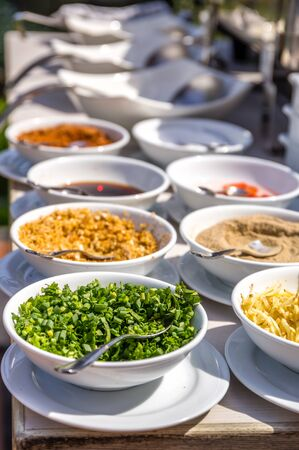 seasonings: Various Garnish and Seasonings Stock Photo