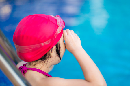 getting: Child Getting Ready for Competition in Swimming Stock Photo