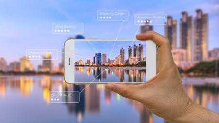 Réalité augmentée ou application AR sur Smart Device Screen