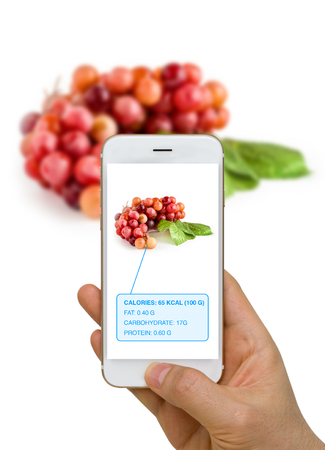 Augmented Reality or AR App Showing Nutrition Information of Food, Grape, on Smart Device Screen Stock Photo