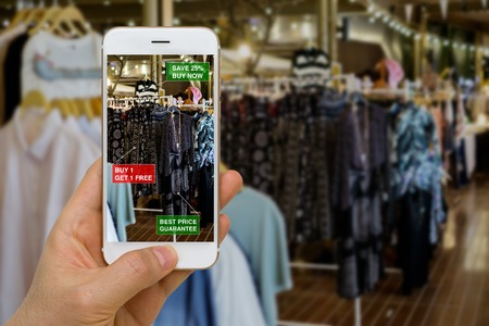 Application of Augmented Reality in Retail Business Concept for Discounted or on Sale Products Reklamní fotografie - 68704864