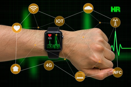 Smart Watch Monitoring Heart Rate Application Concept with Heart Beat Cardiogram
