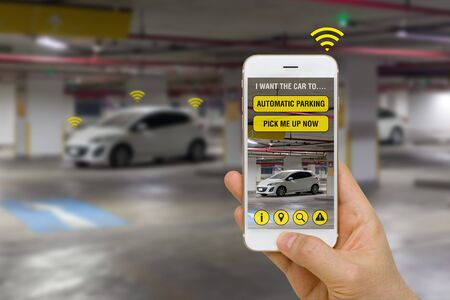 Self-Driving Car Controlled with App on Smartphone to Park in Parking Lot Concept