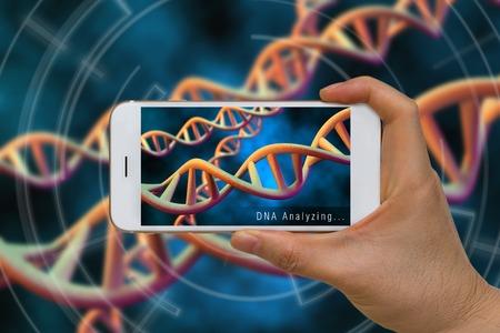 스마트 폰을 사용하여 증강 현실 또는 DNA, 염색체, 유전자, 분석 개념의 AR 기술 스톡 콘텐츠