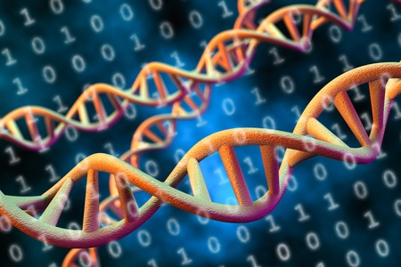 DNA デジタル データ ストレージの概念、3 D レンダリング 写真素材