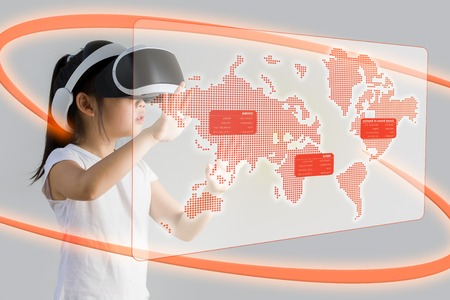VR or Virtual Reality for Education Concept Illustrated by Asian Child Wearing VR Headset