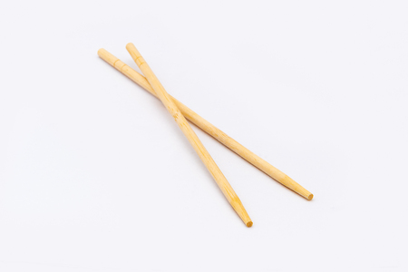 Wooden Chopstick Isolated on White Background Stock Photo